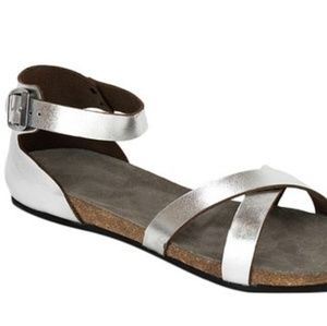 Silver Milano Leather Ankle-strap Sandal